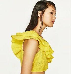 Zara Yellow one shoulder Crop top